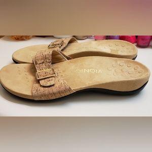 Vionic Orthotic Leather Santos Slide Sandals 8